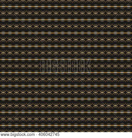 Geometric Golden Seamless Pattern With Semicircles And Lines. Repeating Background.