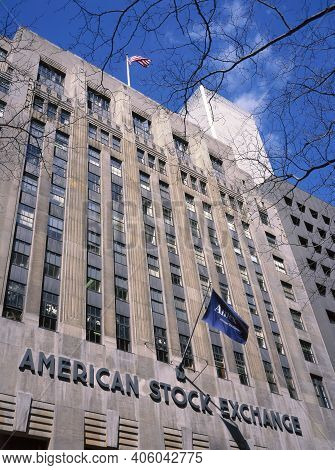 New York City,u.s.a. -february 17, 1995: The American Stock Exchange In The Financial District Is No