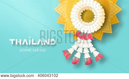Thai Jasmine Garland And Golden Pedestal Tray Top View Vector Illustration For Mother's Day Or Songk