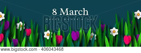 8 March Greeting Banner For International Womens Day. Bouquet Of Paper Cut Spring Flowers Tulips And