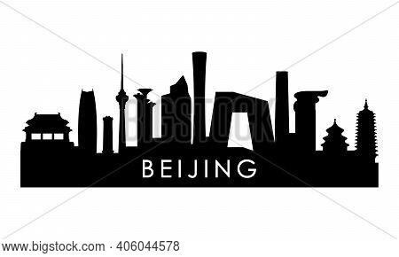 Beijing Skyline Silhouette. Black Beijing City Design Isolated On White Background.