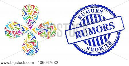Yes Sign Colorful Centrifugal Flower Shape, And Blue Round Rumors Corroded Stamp Seal. Object Flower