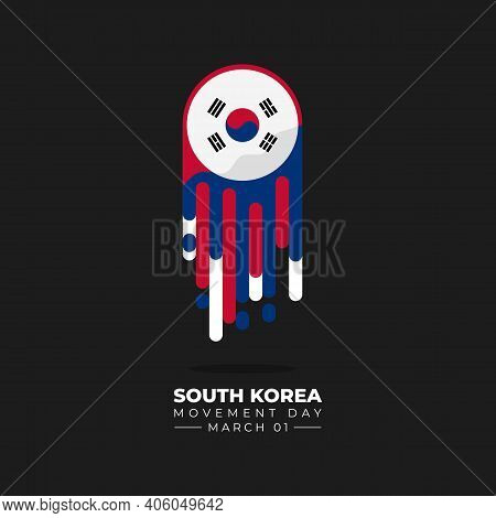 South Korea Independence Movement Day. Flying South Korean Flag With Meteor Concept Design. Good Tem