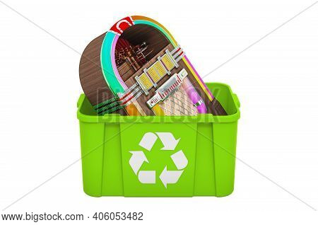Recycling Trashcan With Jukebox, 3d Rendering Isolated On White Background