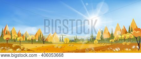 Autumn Landscap Of Farm Field With Blue Sky,wonderland Of Mid Autumn In Countryside With Sunlight Sh