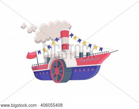 Childish Toy Cartoon Steamer Ship Flat Vector Illustration Isolated On White.