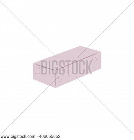 Building Material - White Brick Or Foam Concrete Block A Vector Illustration