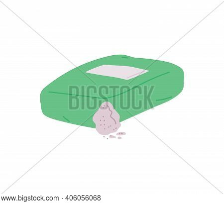 Sack Of Concrete Or Cement For Construction Flat Vector Illustration Isolated.