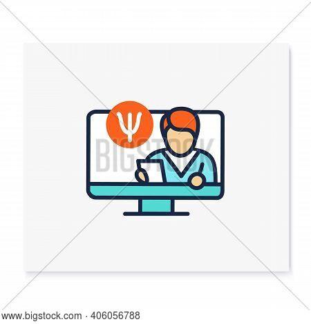 Telepsychiatry Color Icon. Telehealth Medical Care. Virtual Psychiatrist Consultation. Telemedicine,