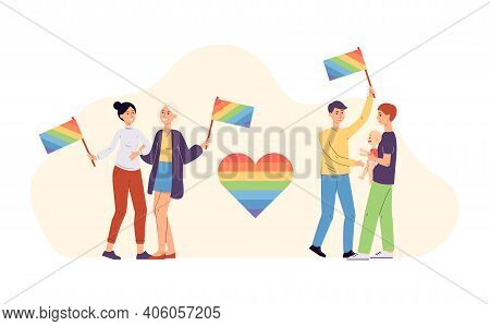 Homosexual And Lesbian Couples With Lgbt Symbols, Vector Illustration Isolated.