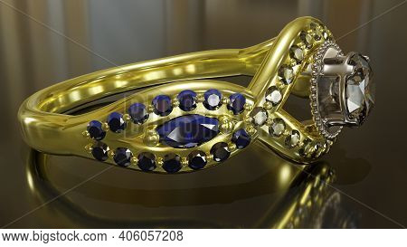 3d Rendering, Gold Ring With Diamonds And Sapphires, Central Crown In White Gold Set With A 3.71mm D