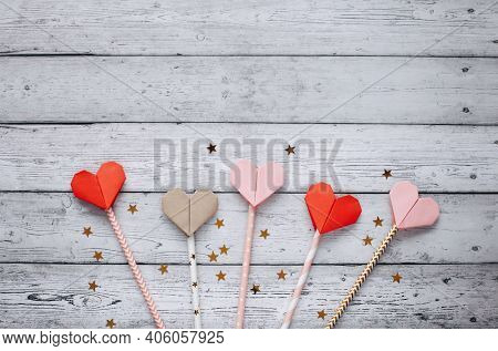 Flat lay romantic photography on natural background. Cute romantic greeting card template.