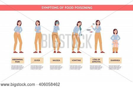 Food Poisoning Symptoms - Cartoon Woman With Pain And Fever