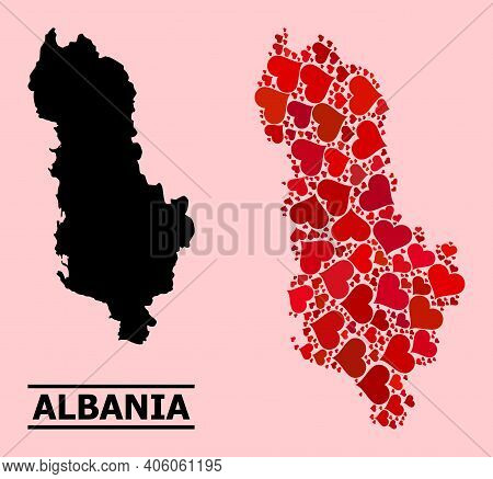 Love Collage And Solid Map Of Albania On A Pink Background. Collage Map Of Albania Designed From Red