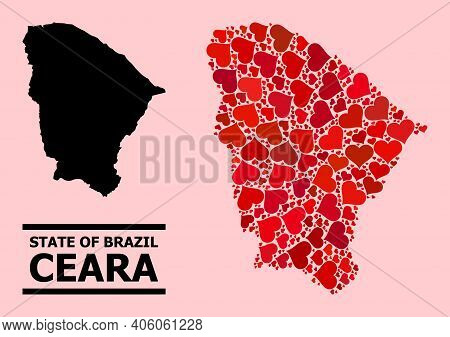 Love Mosaic And Solid Map Of Ceara State On A Pink Background. Collage Map Of Ceara State Formed Wit