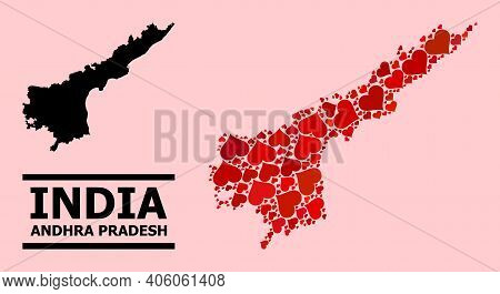 Love Mosaic And Solid Map Of Andhra Pradesh State On A Pink Background. Mosaic Map Of Andhra Pradesh