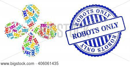 Robot Head Multicolored Explosion Bang, And Blue Round Robots Only Rubber Print. Object Flower Done