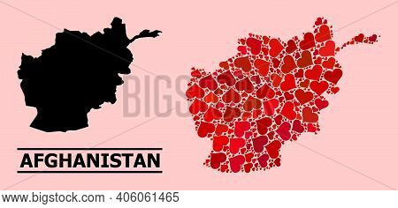 Love Collage And Solid Map Of Afghanistan On A Pink Background. Collage Map Of Afghanistan Composed