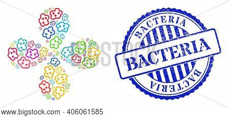 Amoeba Multi Colored Rotation Flower With 4 Petals, And Blue Round Bacteria Dirty Watermark. Object