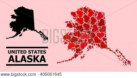 Love Pattern And Solid Map Of Alaska State On A Pink Background. Mosaic Map Of Alaska State Composed