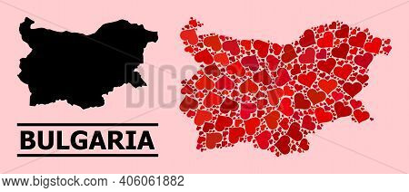 Love Collage And Solid Map Of Bulgaria On A Pink Background. Collage Map Of Bulgaria Designed From R
