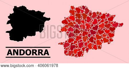 Love Mosaic And Solid Map Of Andorra On A Pink Background. Mosaic Map Of Andorra Formed With Red Val