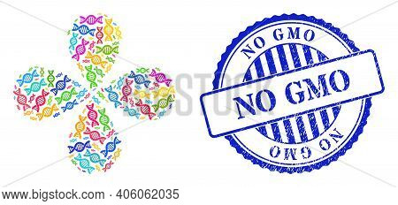 Genetic Molecule Multicolored Twirl Flower Shape, And Blue Round No Gmo Rubber Stamp Print. Object T