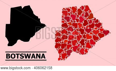 Love Collage And Solid Map Of Botswana On A Pink Background. Mosaic Map Of Botswana Is Designed With