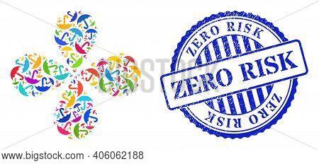 Umbrella Bright Twirl Spin, And Blue Round Zero Risk Rubber Print. Element Twirl Designed From Scatt