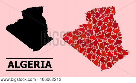 Love Collage And Solid Map Of Algeria On A Pink Background. Mosaic Map Of Algeria Is Composed From R