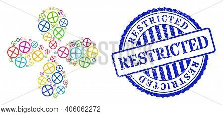 Restricted Bright Centrifugal Flower Cluster, And Blue Round Restricted Rubber Print. Object Flower