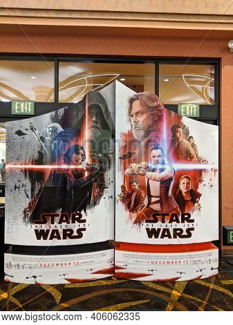 Honolulu - January 9, 2018:  Star Wars The Last Jedi Movie Poster Ad Featuring The Kylo Ren. Rey, An
