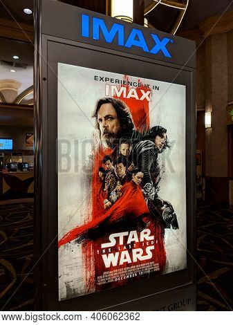 Honolulu - January 9, 2018:  Star Wars The Last Jedi Movie Poster Imax Ad Featuring The Kylo Ren. Re