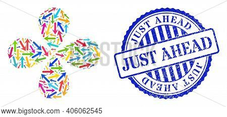 Forward Arrow Bright Curl Flower With 4 Petals, And Blue Round Just Ahead Unclean Stamp Print. Objec