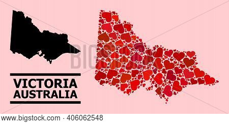 Love Mosaic And Solid Map Of Australian Victoria On A Pink Background. Collage Map Of Australian Vic