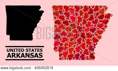 Love Mosaic And Solid Map Of Arkansas State On A Pink Background. Mosaic Map Of Arkansas State Desig