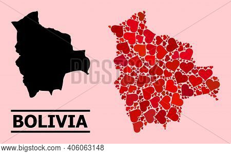 Love Pattern And Solid Map Of Bolivia On A Pink Background. Mosaic Map Of Bolivia Is Designed With R