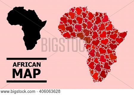 Love Pattern And Solid Map Of Africa On A Pink Background. Collage Map Of Africa Is Formed With Red