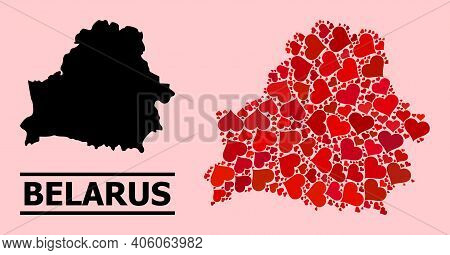 Love Collage And Solid Map Of Belarus On A Pink Background. Collage Map Of Belarus Is Formed With Re