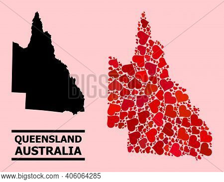 Love Mosaic And Solid Map Of Australian Queensland On A Pink Background. Mosaic Map Of Australian Qu