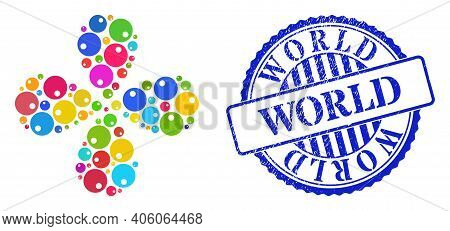 Sphere Multicolored Twirl Flower With Four Petals, And Blue Round World Grunge Badge. Object Flower