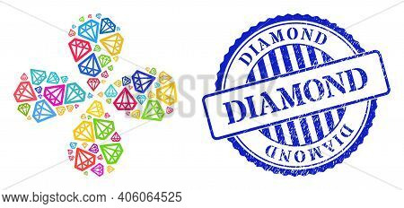 Diamond Multicolored Centrifugal Fireworks, And Blue Round Diamond Rough Stamp Print. Object Centrif