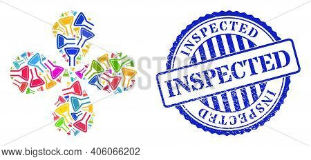 Chemical Flask Colored Explosion Burst, And Blue Round Inspected Rubber Watermark. Object Centrifuga
