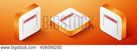 Isometric Ribbon In Finishing Line Icon Isolated On Orange Background. Symbol Of Finish Line. Sport