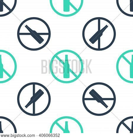Green No Alcohol Icon Isolated Seamless Pattern On White Background. Prohibiting Alcohol Beverages.