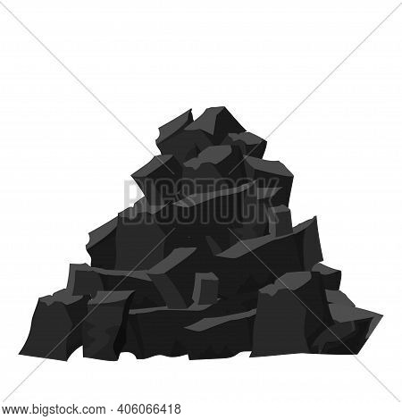 Big Pile, Stack Of Coal Pieces, Charcoal In Cartoon Style Isolated On White Background. Black And Da