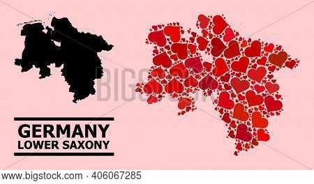 Love Collage And Solid Map Of Lower Saxony State On A Pink Background. Collage Map Of Lower Saxony S