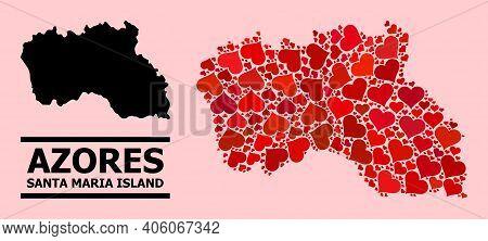 Love Mosaic And Solid Map Of Santa Maria Island On A Pink Background. Mosaic Map Of Santa Maria Isla