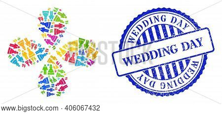 Marriage Couple Colorful Rotation Flower With Four Petals, And Blue Round Wedding Day Rubber Print.