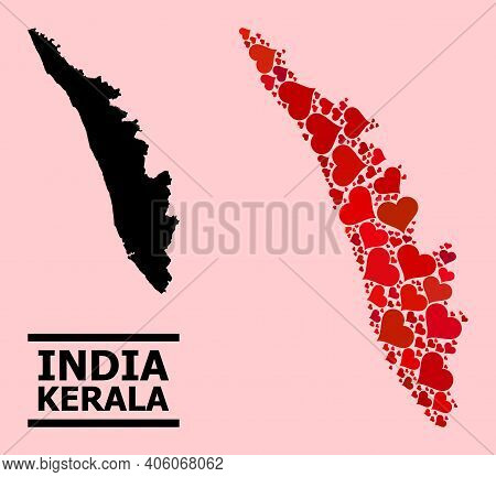 Love Pattern And Solid Map Of Kerala State On A Pink Background. Mosaic Map Of Kerala State Created